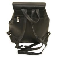 Piel Leather Flap-Over Button Backpack in Black