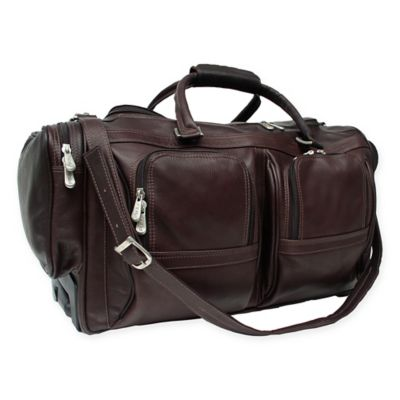 piel leather classic 20inch rolling duffel in chocolate