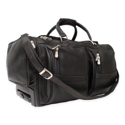 piel leather classic 20inch rolling duffel in black