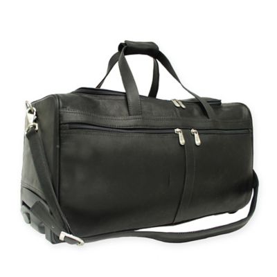 piel leather classic 215inch rolling duffel in black