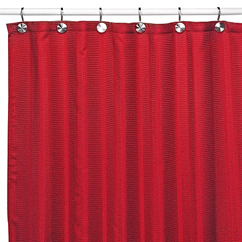 Westerly Red Fabric Shower Curtain