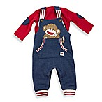 Baby Starters® Size 12M 2-Piece Sock Monkey Overall Set in Denim Red