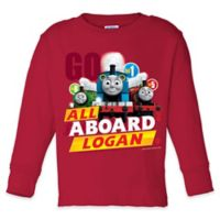 "Thomas & Friends Size 6/8 ""All Aboard"" Long Sleeve T-Shirt in Red"