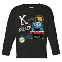 "Thomas the Tank Engine Blackboard Style ""Is For"" Size 10/12 Long Sleeve T-Shirt in Black"