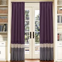 Mia Pleated 84-Inch Rod Pocket Window Curtain Panel Pair in Purple/Grey