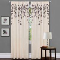Flower Drops 84-Inch Rod Pocket Window Curtain Panel in Ivory/Purple