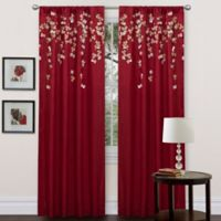 Flower Drops 84-Inch Rod Pocket Window Curtain Panel in Red
