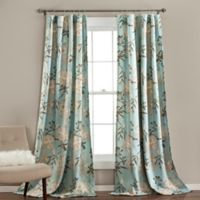 Botanical Garden 84-Inch Rod Pocket Room Darkening Window Curtain Panel Pair in Blue
