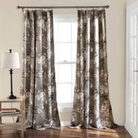Botanical Garden 84-Inch Rod Pocket Room Darkening Window Curtain Panel Pair in Taupe