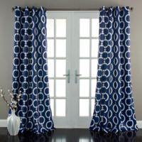 Half Moon 84-Inch Chainlink Room-Darkening Grommet Top Window Curtain Panel Pair in Navy