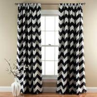 Chevron 84-Inch Rod Pocket Room Darkening Window Curtain Panel Pair in Black
