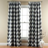 Chevron 84-Inch Rod Pocket Room Darkening Window Curtain Panel Pair in Grey