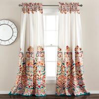 Half Moon 84-Inch Clara Room-Darkening Rod Pocket Window Curtain Panel Pair in Blue/Orange