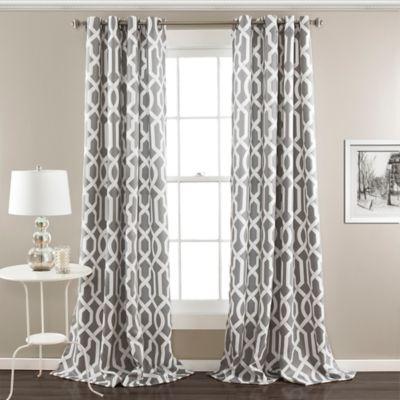 Edward Trellis 63 Inch Grommet Top Room Darkening Window Curtain Panel Pair In Grey