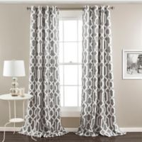 Edward Trellis 108-Inch Grommet Top Room Darkening Window Curtain Panel Pair in Grey