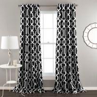 Edward Trellis 84-Inch Grommet Top Room Darkening Window Curtain Panel Pair in Black