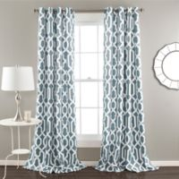 Edward Trellis 84-Inch Grommet Top Room Darkening Window Curtain Panel Pair in Blue
