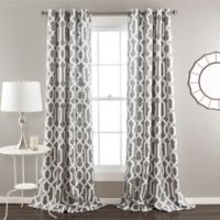 Edward Trellis 84-Inch Grommet Top Room Darkening Window Curtain Panel Pair in Grey