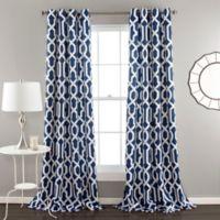 Edward Trellis 84-Inch Grommet Top Room Darkening Window Curtain Panel Pair in Navy