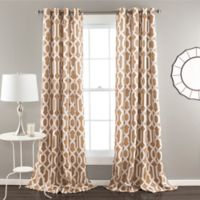 Edward Trellis 84-Inch Grommet Top Room Darkening Window Curtain Panel Pair in Taupe