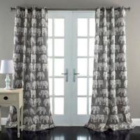 Elephant Parade 84-Inch Grommet Top Room Darkening Window Curtain Panel Pair in Grey