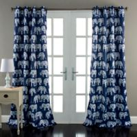 Elephant Parade 84-Inch Grommet Top Room Darkening Window Curtain Panel Pair in Navy