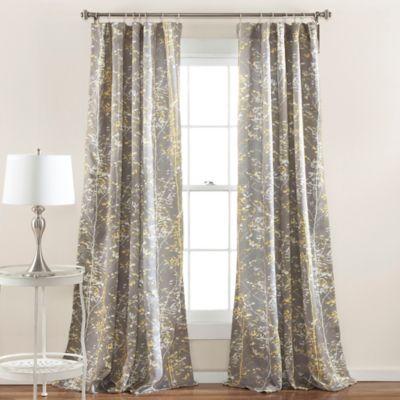 Forest 84 Inch Rod Pocket Room Darkening Window Curtain Panel Pair In Grey/ Yellow