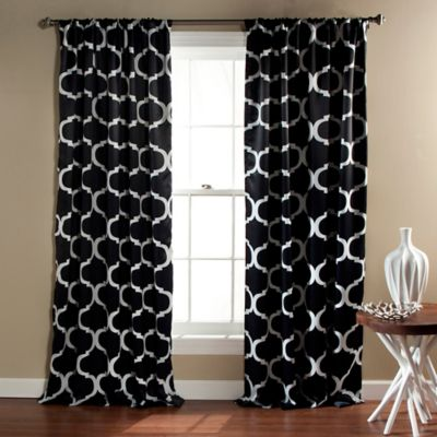 Geo 84 Inch Rod Pocket Blackout Window Curtain Panel Pair In Black
