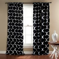 Geo 84-Inch Rod Pocket Blackout Window Curtain Panel Pair in Black