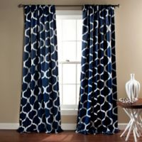 Geo 84-Inch Rod Pocket Blackout Window Curtain Panel Pair in Navy