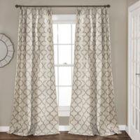 Geo Trellis 84-Inch Rod Pocket Window Curtain Panel Pair in Grey