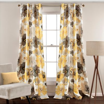 Leah 63 Inch Grommet Top Room Darkening Window Curtain Panel Pair In Yellow Grey