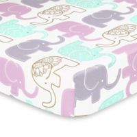 The Peanut Shell® Little Peanut Elephant Fitted Crib Sheet in Lilac