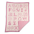 Living Textiles My First Alphabet Knitted Fuzzy Blanket in Pink