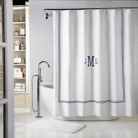 Wamsutta® Baratta 72-Inch x 84-Inch Shower Curtain in White/Navy