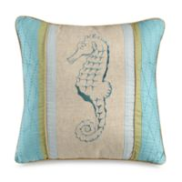 Natural Shells Seahorse Square Throw Pillow in Blue/Beige