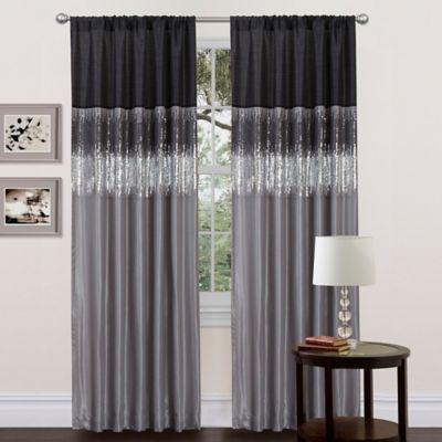 Night Sky 84 Inch Rod Pocket Window Curtain Panel In Black Grey