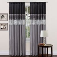 Night Sky 84-Inch Rod Pocket Window Curtain Panel in Black/Grey