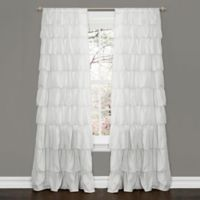 Ruffle 84-Inch Rod Pocket Window Curtain Panel in White