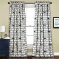 Alligator 84-Inch Room Darkening Rod Pocket Window Curtain Panel Pair in Grey/Green