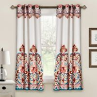 Half Moon 63-Inch Clara Room-Darkening Grommet Top Window Curtain Panel Pair in Blue/Orange