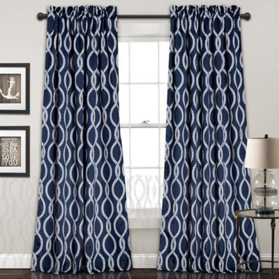 Rope Knot 84 Inch Rod Pocket Room Darkening Window Curtain Panel Pair