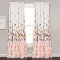 Flutter Butterfly 84-Inch Rod Pocket Window Curtain Panel Pair in Pink