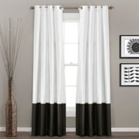 Prima 84-Inch Grommet Top Window Curtain Panel Pair in Black/White