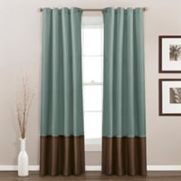 Prima 84-Inch Grommet Top Window Curtain Panel Pair in Blue/Chocolate