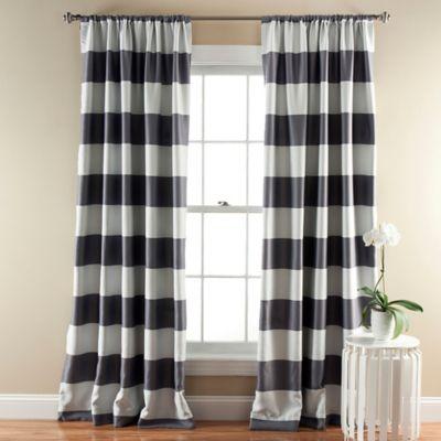 Stripe Room Darkening 84 Inch Rod Pocket Window Curtain Panel Pair In Grey