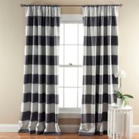 Stripe Room Darkening 84-Inch Rod Pocket Window Curtain Panel Pair in Grey