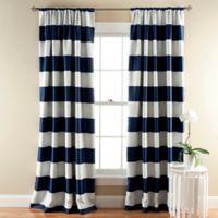 Stripe Room Darkening 84-Inch Rod Pocket Window Curtain Panel Pair in Navy