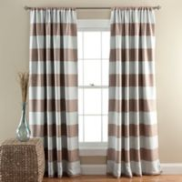 Stripe Room Darkening 84-Inch Rod Pocket Window Curtain Panel Pair in Taupe