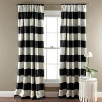 Stripe Room Darkening 84-Inch Rod Pocket Window Curtain Panel Pair in Black